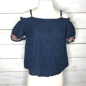 J.O.A   Cropped Embroidered Cold Shoulder Top